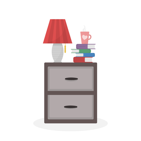 Nightstand with table lamp, pack of books and cup with hot drink on it. Isolated on white background. Living room interior design elements. Vector eps 10
