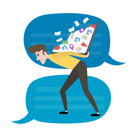Social media and internet addiction vector concept. Young man carried on the back a notebook overloaded with notification.