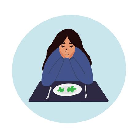 Triste joven mirando la ilustración de vector de plato vacío. Peligro de las dietas y el concepto de vector de anorexia. EPS 10 Ilustración de vector