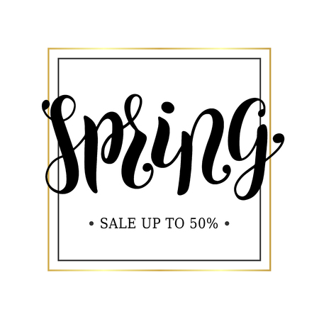 Spring sale advertising banner concept. Minimalistic luxury style. Golden frame. Spring hand scetched lettering. Template for posters, banners, advert, promo. Vector EPS 10 Ilustração Vetorial
