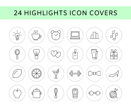 Vector set of 24 line icons - social media story highlights covers. Trendy bloggers linear icons. Blog decoration icons. Beauty icons isolated on white.