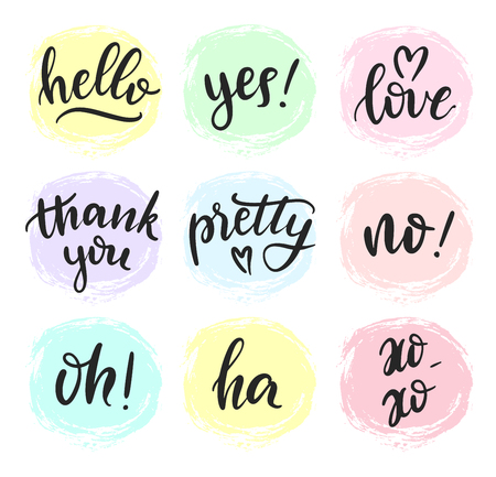 Set of lettering quotes on textured hand drawn background. Lettering typography stickers. Hand sketched brush lettering. Vector eps 10