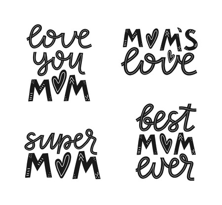 Set of lettering mother quotes. Love you mom, mom's love, super mom, best mom ever. Mother's day lettering. Vector illustration EPS 10 Illusztráció