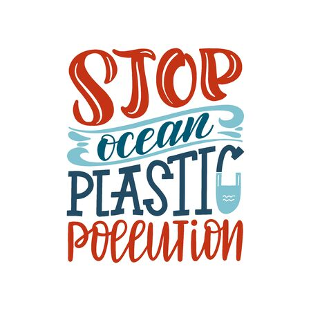 Stop ocean plastic pollution typography poster. Environments problems and ecology activism vector concept. Stop ocean pollution lettering text. Illustration Stock Illustratie