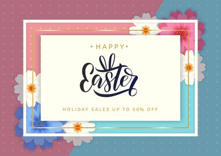 Easter hand sketched vector logo on festive banner template decorated by flowers background. Happy easter concept as promotion banner, sales flyer. Vector illustration