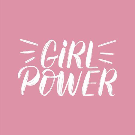 Girl power typography poster. Girl power brush lettering on pink background. Womens empowerment concept. Feminism slogan as logo, t-shirt design, print, sticker, label. Vector
