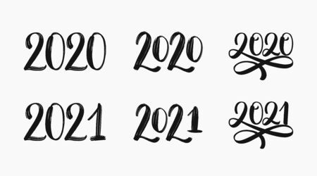 2020 and 2021 text logo set. Hand sketched numbers of new year. 2021 set of inscriptions. New year 2021 lettering set. Vector template for cards, prints, t-shirts, invitations, labels. Vector