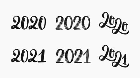 2021 logo set. Hand sketched numbers of 2021. 2020 set of inscriptions. New year 2021 lettering set. Vector template for cards, prints, t-shirts, invitations. 2021 sign for sales, commercial and labels. Vector