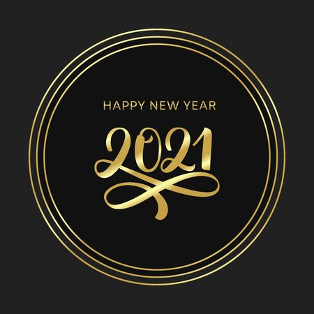 2021 Happy new year lettering poster. Golden text 2021 logo. Gold Festive Numbers Design. Happy New Year Banner with 2021 Numbers. Vector illustration