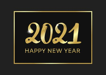 2021 Happy new year typography poster. Golden text 2021 logo. Gold Festive Numbers Design. Happy New Year Banner with 2021 Numbers. Vector illustration