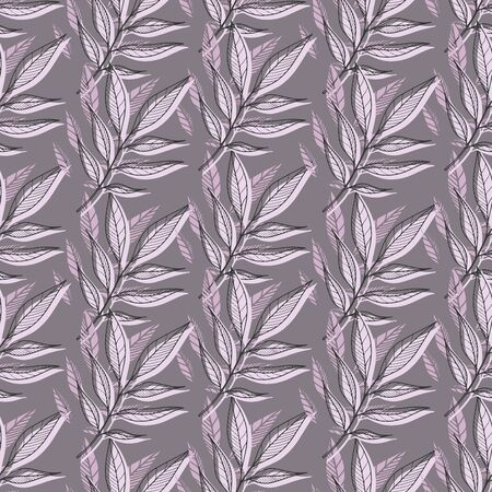 Modern floral seamless pattern imprint and engraving technique. Soft purple grey and lilac floral and foliage. Seamless floral pattern for clothes, bed linen, apparel, wallpaper.