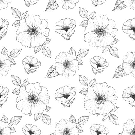 Vintage floral seamless pattern with hand drawn dog roses, Wild rose engraving pattern. Vector illustration