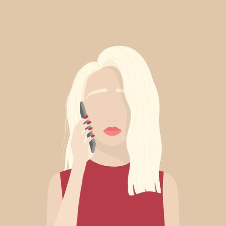Flat simplified illustration of young blonde women holding smartphone with sad expression on her face. Modern portrait of young woman talking on the mobile phone. Vector illustration