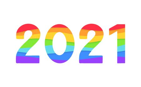2021 vector logo with rainbow paper cut background. 2021 gay pride month vector concept. Festive numbers design. Lettering 2021 lgbt vector concept