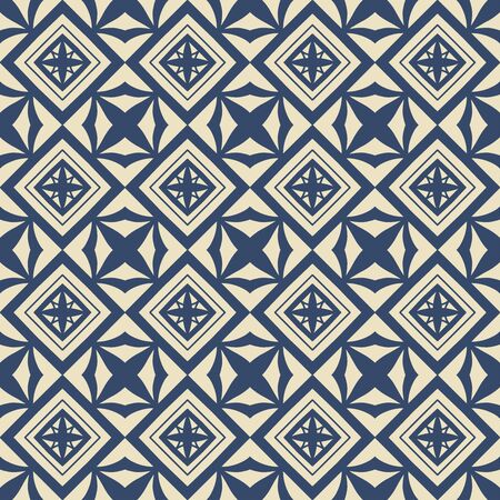 Seamless vector geometric pattern in old classic style. Rhombus motif with floral elements. Light beige and navy monotone. Fashion clothes pattern. Vector illustration eps 10