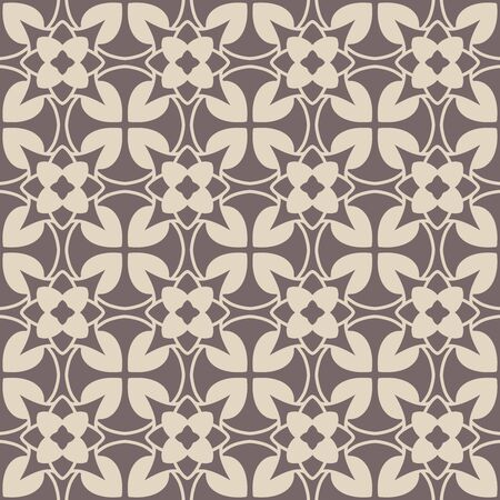 Seamless vector geometric pattern in classic fashion style. Circles motif with floral elements. Monotone brown grey and beige. Vector illustration eps 10