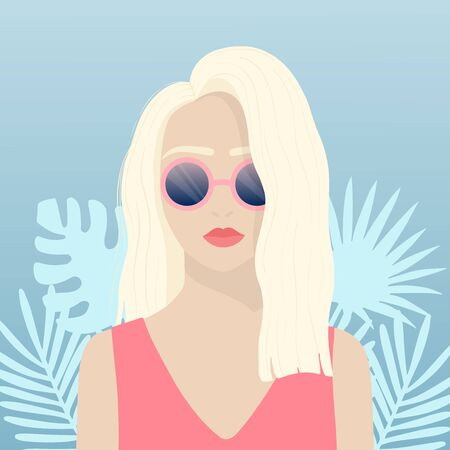 Summer girl flat poster concept. Young blonde woman in the pink sunglasses on the summer tropic leaves background. Woman on vacation. Simplified flat vector illustration EPS 10