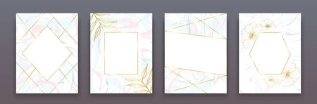 Set of greeting card templates as wedding, birthday party or social event flyer. Greeting card with soft light pink, blue and light grey marble texture and geometric golden frames. Decorated by floral sketch. 일러스트