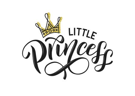 Little princess typography isolated on white with golden crown. Little princess lettering design as logo, t-shirt design and print for girls clothes and apparel. Princess emblem, label, tag. 일러스트