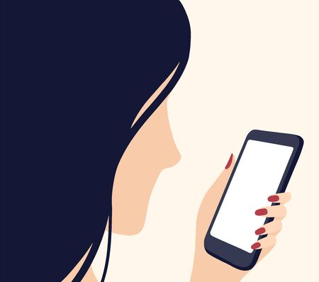 Woman looking at her mobile phone. Modern minimalistic flat illustration of girl in profile looking at the screen of a smartphone. Smartphone and social media addiction