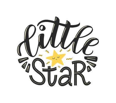 Little star lettering poster decorated by cute doodle star. Little star text as nursery poster, kids clothes design and print. Vector illustration EPS 10 일러스트