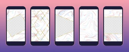 Set of fancy stories templates for social media. Pink marble texture as stories frames and backgrounds set. Pack of stories backgrounds with gold frames. 일러스트