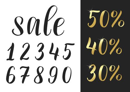 Set of hand sketched numbers. Lettering brush numbers as constructor of sale discount. Golden numbers with lights and sparkles.