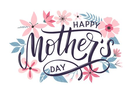 Happy mothers day greeting card with modern doodle flowers background. Happy mothers day typography poster as card, banner, print