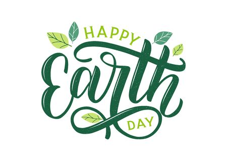Happy Earth Day hand lettering logo decorated by leaves. Earth Day 2020 typography logo. Earth Day environmental and eco activism vector concept