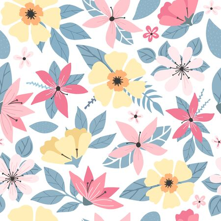 Modern doodle floral seamless pattern. Spring simple flowers with leaves. Colorful flowers pattern on white. flat simple retro vintage colorful vector. Seamless pattern
