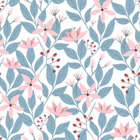 Hand drawn seamless floral pattern on white background. Cherry blossom and leaves. Modern botanical illustration. Flower seamless pattern. Vector illustration 일러스트