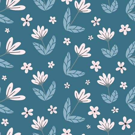 Vector seamless cute minimalistic cherry flowers pattern. Doodle handmade background with white pink buds and flowers. Stylized, graphical, spring flowers. Vector 일러스트