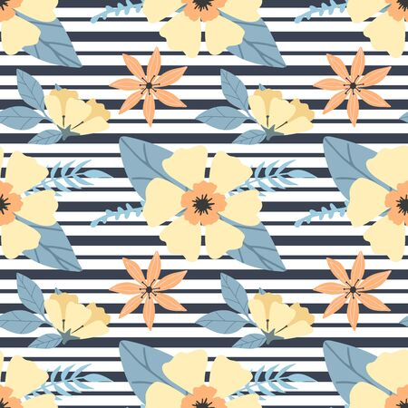 Seamless floral pattern with bright hawaiian flowers on black stripes. Yellow flowers print for textile, clothes, apparel. Vector illustration EPS 10 일러스트