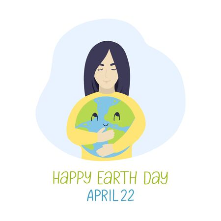 Young woman hugging cute cartoon earth globe with a smile on face. Earth day april 22 lettering. Happy earth day vector concept. Save the planet vector concept