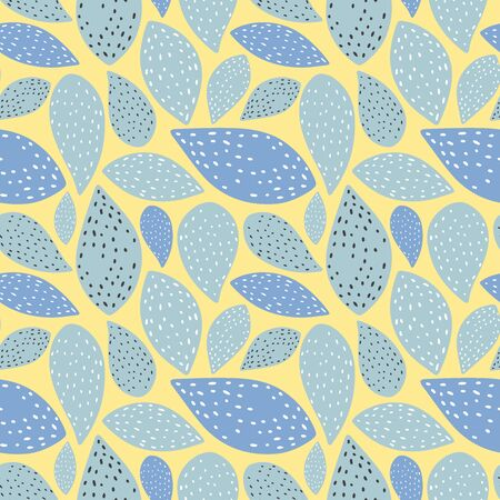 Simple flat floral seamless pattern. Seamless pattern of leaves with dots texture. Floral pattern on mustard color background. Vector illustration eps 10