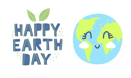Happy earth day banner. Cartoon cute earth with happy expression. Happy earth day hand drawn lettering in modern paper cut style. Earth day kids concept. 일러스트