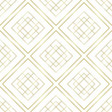 Golden geometry seamless pattern. Abstract golden white background. Gold rhombus geometrical pattern. Vector illustration