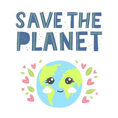 Happy earth day greeting card. Cartoon cute earth with happy expression.Save the planet hand drawn lettering in modern paper cut style. Earth day kids concept. 일러스트