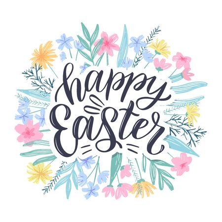 Happy easter greeting card. Easter spring hand drawn flowers background. Decorative floral easter frame with hand sketched lettering. Vector illustration EPS 10