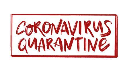 Coronavirus quarantine sign. People quarantine for virus epidemic prevention. Text quarantine sign. Hand drawn danger text. Coronavirus vector concept. 일러스트