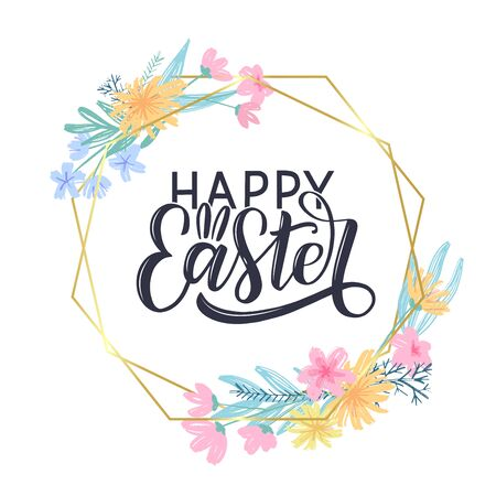 Happy easter hand drawn text as greeting card, poster, banner, social media post. Festive design with hand drawn flower frame. Easter vector concept.