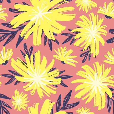 Dandelion floral seamless pattern. Pastel crayon flowers for textile, print, apparel, clothes. Doodle seamless pattern. Hand drawn vector illustration