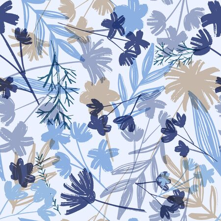 Stylish vintage floral seamless pattern. Monotone blue, grey and beige of silhouette tropical foliage. Fashion floral summer print for print, apparel, clothes design. Vector 일러스트