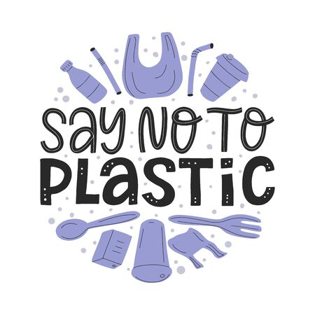 Say no to plastic text sign. Flat doodle plastic pollution illustration. Stop ocean plastic pollution vector concept
