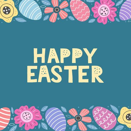 Cute Happy Easter card decorated by colorful doodle flowers and easter eggs. Happy easter papercut lettering. Vector illustration eps 10