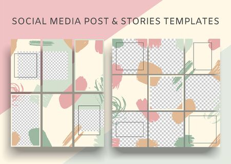 Set of social media posts and stories templates. Summer abstract square puzzle layout. Mock up for personal blog, shop, social media. 일러스트