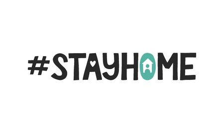 Stay home hashtag decorated by cute house with man icon. Coronavirus quarantine vector concept. Modern typography for posters, social media, sticker.