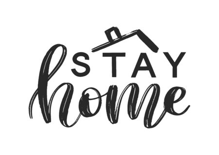 Stay home lettering typography poster. Coronavirus quarantine concept. Covid 19 self isolation motivational poster. Vector eps 10 일러스트