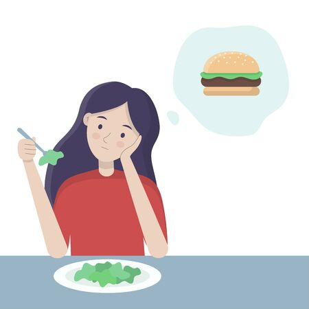 Woman eating salad at the table and thinking about fast food. Healthy and unhealthy food vector concept. Restriction diet vector illustration. 일러스트