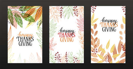Set of three Happy Thanksgiving greeting cards. Happy thanksgiving hand sketched lettering on colorful autumn leaves background.